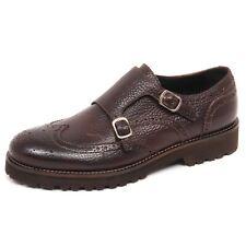 E0578 scarpa uomo brown CARACCIOLO 1971 scarpe doppia fibbia vintage shoe man
