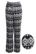 New Ladies Waist Black Cream Tribal Print Flare Women's Trousers