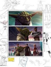 Star Wars The Clone Wars Yoda Obi-Wan Anakin Ahsoka Concept Artwork Tribute Art