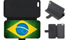 Brazil Brazilian Flag Grunge Wallet Flip Phone Case iPhone Galaxy 4 5 6 7 8 Plus