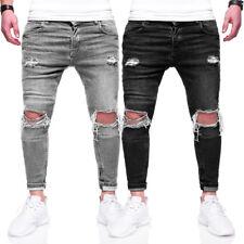 BEHYPE Jeans Herren Destroyed Röhrenjeans Slim Fit Chino Hose Schwarz/GrauNEU