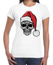 Santa Skull Skeleton Hipster Christmas Women's T-Shirt