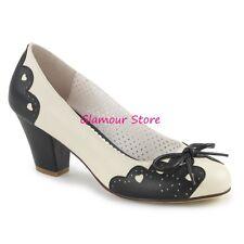 Sexy DECOLTE' tacco 6,5 dal 35 al 41 NERO/CREMA fiocchetto scarpe PIN UP glamour