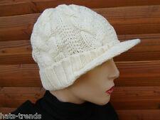 Damenmütze Strickmütze Grobstrick Zopfmuster mit kurzen Schirm Wintermütze warm