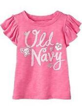 OLD NAVY Baby Girl's Flutter Sleeve Slub Knit Graphic Logo Top Choose Size/Color