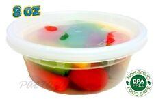 PCM 8 oz. Heavy Duty Round Deli Food Soup Plastic Container w/Lid 100% BPA Free