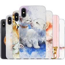 dessana Aquarell Tiere Silikon Schutz Hülle Case Handy Tasche Cover für Apple