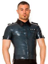 Skin two clothing men's sexy chemise uniforme de l'armée tenue costume en latex de caoutchouc