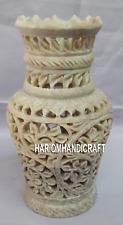 Marble Flower Vase Decorative Beautiful Floral Filigree Work Home Decor H4173