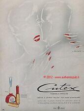 PUBLICITE CUTEX VERNIS A ONGLE ROUGE A LEVRES SIGNE FALCUCCI DE 1952 FRENCH AD