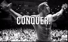 Arnold Schwarzenegger CONQUER - Body Building Wall Poster Print