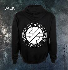 Crass Subhumans Nausea Aus-Rotten Discharge Doom Zipper Zip Up Hoodie Sweatshirt
