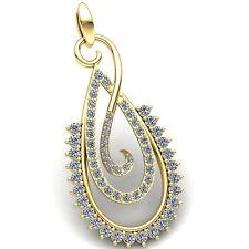 0.5carat Round Cut Diamond Ladies Double Drop Fancy Pendant 10K Gold