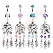 Gem Dream Catcher Net Belly Button Dangle Navel Bar Ring Body Jewellery