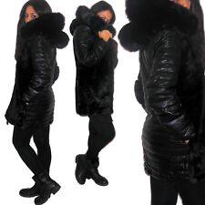 Giacca eco PELLICCIA ec PELLE donna GRANDE CAPPUCCIO pellicciotto giaccone D0655