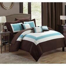 Brown Blue White Hotel Color Block 10 pc Comforter Sheet Set Queen King Bed Bag