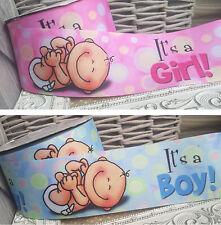 Baby It's a Boy, It's a Girl 25mm, 75mm Ribbon Blue Pink Cake Shower Christening