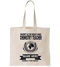 Personalised Tote Bag Shopper Chemistry Teacher Leaving Gift Present School