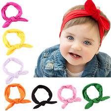 New Baby Kids Newborn Headbands Stretch Rabbit Bow Ear Turban Knot Hair Band TO