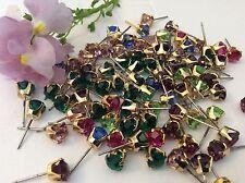 Vintage pince boucle d'oreille goldtone mixte couleur strass pack de 20 bijoux revente
