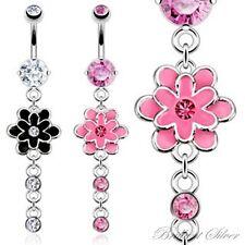 Piercing de Ombligo Ombligo Piercing Colgante flor Flor Cristales blanco, Rosa