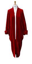 Baylis Knight Red Velvet Duster Coat Oversize Boho Retro Festival opera