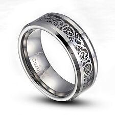 Tungsten Carbide 8mm Silver Dragon Inlaid Wedding Band Ring 8-14 Half Size TG013