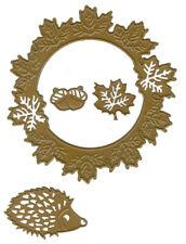 Joy Crafts Dies Autumn Wreath leaves Hedgehog Boo Circles Spider Halloween Witch