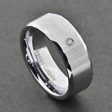 8mm Tungsten Carbide Satin Top 2.0mm Round Diamond Men's Wedding Ring