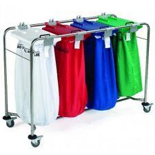 Profesional alta resistencia 4 Bolsa carrito de lavandería elegir Código de Color Tapa Y Bolsos