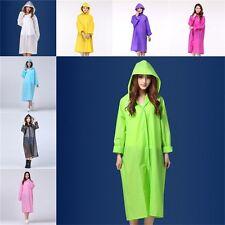 Women Mens Thickened PVC Raincoat Hooded Waterproof Rain Coat Jacket One Size