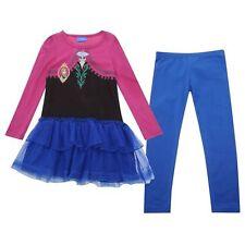 DISNEY ensemble LA REINE DES NEIGES Anna robe + legging 7-8 9-10 11-12 ans NEUF