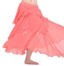 SALMON | Women Lady Hot Spiral Skirts 3 Layer Circle Belly Dance Costume Boho