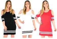New Womens Plus Size Stripe Cut Out Shoulder Dress 8-22