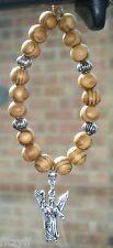 In Car Wooden Beads & Archangel Rafael Charm Religious Angel Raphael Rāfāʾēl