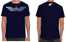 Capitán América Para Hombre T Shirt Marvel Superheroe Navy Silver Logo Alas Star S-XXL