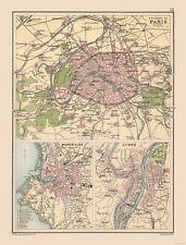 International Map - Paris, Marseilles, Lyons - Bartholomew 1892 - 23 x 30.30