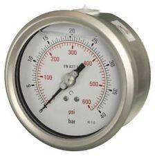 100mm Pressure Gauge - Glycerine Filled Industrial Lower Back Entry 1% Acc