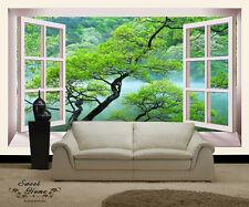 Forest Tree fog 3D Windows  Full Wall Mural Photo Wallpaper Print Paper Home Dec