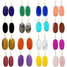 18K Yellow Gold Color Rose Quartz lapis lazuli Oval Shape Women's Stone Earrings