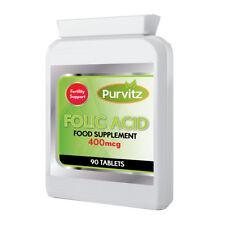 Folic Acid Tablets 400mcg ONE A DAY Folacin Vitamin B-9 Pregnancy Support UK