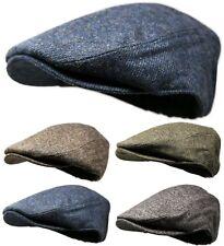 Men's Classic Wool Blend Tweed Newsboy Ivy Gatsby Cabbie Snap Front Golf Hat