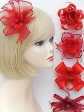 Red Fascinator Brooch Clip Hair Feather Flower Wedding Ladies Day Races UK