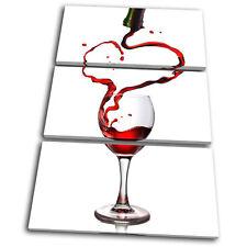 Food Kitchen Wine Glass Pouring TREBLE CANVAS WALL ART Picture Print VA