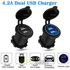12V Car Cigarette Lighter Socket Dual 2.1A USB Port Charger Power Outlet LED