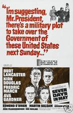 7 days in May Kirk Douglas1964 Vintage movie poster