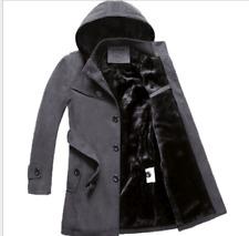 Mens Padded Fur Hooded Trench Coat Business Office Gentlemen Outwear