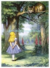 Alice In Wonderland w Cheshire Cat Fabric Block 5x7 Tenniel Illustration