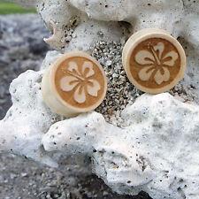"Straight Plugs Gauges w/ Edges 0G-1"" Organic Handmade Carved Wood Hibicus Floral"