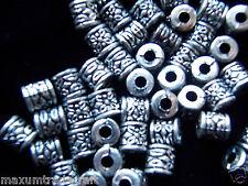 100 pcs 8mm tibet argent style cylindre perles acryliques de 1ère classe